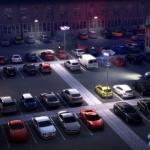 夜晚停车场模型 大量车辆模型