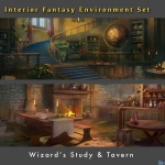 中世纪场景Gumroad – Fantasy Environment Interiors by Tyler Edlin