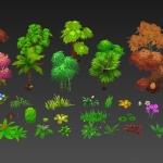 整理的一套植物模型,竹子,棕榈,桃树,枫树等一些植物
