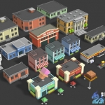 unity3d卡通建筑房子模型Simple Buildings - Cartoon City101