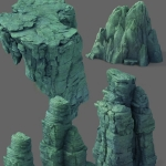 一组高模山体石头模型3dmax资源文件