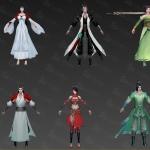 写实武侠手游游戏角色成套模型