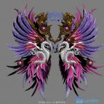 传奇类型光翼翅膀,带灯光渲染